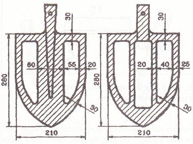 Лопата с «окнами» (размеры в миллиметрах)