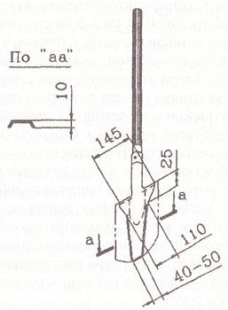 Узкая лопата (размеры в миллиметрах)