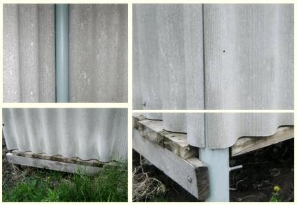 дачный душ со стенами из шифера